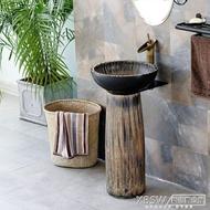 洗臉盆陶瓷立式柱盆復古工業風一體陽台廁所戶外牆角落地洗手台盆CY