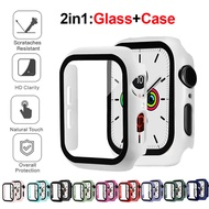 Glass+cover For apple watch case 44mm 40mm Apple Watch 42mm 38mm Tempered Screen Protector accessories for apple watch series 6 5 4 3
