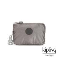 【KIPLING】低調質感金屬灰褐色三夾層配件包-CREATIVITY S