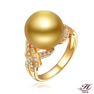 【禾美珠寶】天然南洋金珠鑽戒FF206(18K金)