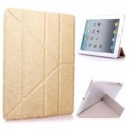 iPad mini5 9.7吋 2019 A2133 蠶絲紋Y折保護皮套(金)