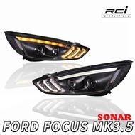 SONAR MIT製 福特 FOCUS MK3.5 新款 魚眼大燈組 類 野馬日行燈 設計 序列式 跑馬方向燈