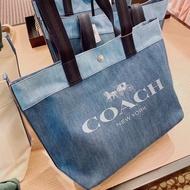 【名牌精品包 Coach包包】COACH 91131 CANVAS系列 字母LOGO牛仔布托特包 手提包 單肩包 附購證