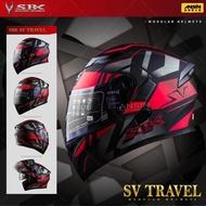 [中壢安信]SBK SV TRAVEL 消光黑紅 雙D扣 內襯可拆 內置遮陽片 全罩 安全帽 可樂帽 汽水帽