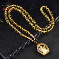 Thai Amulet Chain 6mm Citrine Sweater Chain Crystal Necklace Thai Amulet Hanging Chain Thailand Gilt