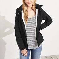 HCO Hollister 海鷗 年度熱銷防風防潑水連帽風衣外套(女)-黑色