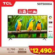 4K BEST SELLER NEW! TCL ทีวี 50 นิ้ว LED 4K UHD Android TV 9.0 Wifi Smart TV OS (รุ่น 50T5000A) Google assistant & Netflix & Youtube-2G RAM+16G ROM, One Remote with Voice search