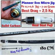 Pioneer Evo 180cm Solid Carbon Pe Spinning Micro Jig Fishing Rod 0.1 & @ 0.6