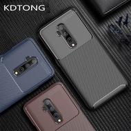 手機殼適用於Oneplus 7T Pro碳纖維顆粒軟矽膠TPU保護套Oneplus 7T 1 + 7T Pro手機保護套