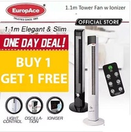 [ BUY ONE GET ONE FREE ] EuropAce ETF 1129 Tower Fan with Remote - Black