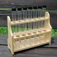 13孔6柱木製試管架組 (木製試管架 螺蓋試管 平口玻璃試管) GARASU實驗器材