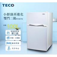 【TECO 東元】100公升二級能效小鮮綠雙門冰箱-纖絲銀(R1001N)