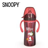 史努比保溫奶瓶正品寬口嬰兒寶寶不銹鋼奶瓶防摔防脹氣帶手柄奶壺