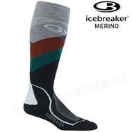 Icebreaker 長筒中毛圈配色滑雪襪/羊毛襪/排汗襪/美麗諾羊毛 男款 104438 301 灰/紅/綠