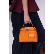 Fendi/芬迪新款橘色mini Peekaboo
