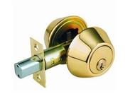 D101-PB 金色 輔助鎖 補助鎖 防盜鎖 適用 鋁 硫化銅門 木門 大門 一般房門 (60 mm、扁平鑰匙)