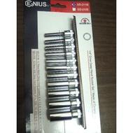 *中崙五金【附發票】GENIUS 專業級 2分 1/4 加長手動套筒組 加長套筒 六角套筒 11件組 GD-211M