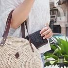 CLEDRAN|交織起舞 日本品味編織馬皮短夾黑色