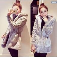 毛絨棉加厚針織外套  灰色XL(現貨一件)