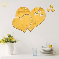 Mirror Wall Stickers Hearts 3D