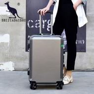 【拉杆行李箱旅行箱】袋鼠鋁框拉桿箱密碼箱皮箱20女學生箱22男登機箱26寸商務旅行箱24
