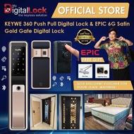 KEYWE 360 Push Pull Lock Satin Gold + Epic 6G Dual Fingerprint Gate Lock + Free Door Viewer + Free Door closer + $250 Voucher for HDB Gate Main Door and My President Mattress