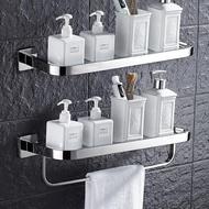 304不銹鋼浴室玻璃置物架壁掛 衛生間化妝品架毛巾架 單層鏡前架