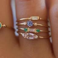 ราคาถูกหญิงสีชมพูสีเขียวสีม่วงแหวนหินชุดแฟชั่น 18KT แหวนหมั้นแหวนทองคำขาวแหวนแต่งงาน Vintage