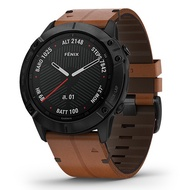 Garmin Fenix 6X Sapphire Smartwatch - [Black DLC with Brwn Leather Band]