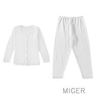 MIGER密格內衣-大尺碼開襟易穿長袖孝親服/衛生衣+褲一套-台灣製-(編號:3890+3308)