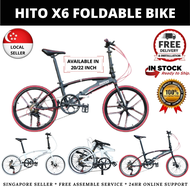 [SG SELLER] HITO X6 SHIMANO PARTS Foldable Bike or Bicycle 20 INCH AND 22 INCH IN MATTE GREY BLACK WHITE