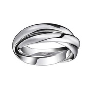TANITTgemsแหวนทองคำขาวแบบเกลี้ยงสามวงคล้องกัน