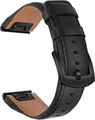 TRUMiRR Watch Band for Fenix 6X/6X Pro/6X Sapphire/5X/5X Plus, 26mm Quick Release Easy Fit Watchband Genuine Cowhide Leather Strap Black Steel Buckle Wristband for Garmin Fenix 3/3 HR/Descent Mk1