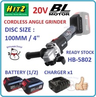 """HIGH QUALITY HITZ HB-5802 20V CORDLESS ANGLE GRINDER WIRELESS 100MM 4'' HEAVY DUTY BL MOTOR BATTERY BATERI POWER TOOLS HIGH QUALITY brushless motor HB-5802 4"""" cordless angle grinder"""