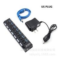 工廠直銷7口USB3.0帶獨立開關 2.0/3.0 HUB 分線器 7孔USB 集線器