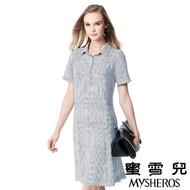 【蜜雪兒mysheros】翻領釦飾直線條紋修身洋裝(白)