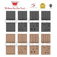 CROWN👑 CM Series Switch / Switches & Socket Metallic Gold/Matt Black  /SCHNEIDER/SIMON/RETOUCH/LEGRAND/SIEMENS/HAGER/MK