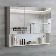 Alumimum Mirror Cabinet Wall-Mounted Punch-Free Bathroom Mirror Box Frameless Bathroom Cabinet Dresser Mirror NcEq