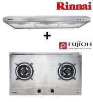 RINNAI RH-S139-SS 90CM SLIMLINE HOOD + FUJIOH FH-GS5520 SVSS 2 BURNER STAINLESS STEEL HOB