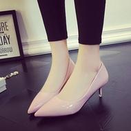 低跟鞋尖頭高跟鞋細跟裸色皮鞋女鞋低跟黑色中跟伴娘鞋百搭婚鞋單鞋女夏