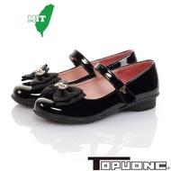 TOPUONE童鞋 17.5-23.5cm 傳統手工鞋蝴蝶結水鑽減壓公主皮鞋童鞋 黑(聖荃官方旗艦店)