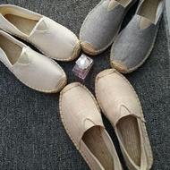 漁夫鞋 春夏季亞麻草編蕾絲鏤空小香漁夫鞋女一腳蹬帆布男鞋情侶懶人單鞋