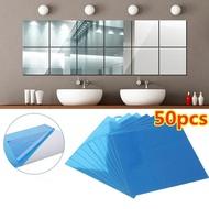50Pc Mirror Wall Sticker Decal Self-Adhesive Tile Mirror Sticker 3D Mirror Wall Artist Home Decoration Wall Sticker