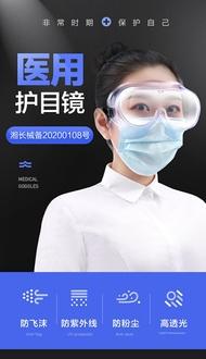 孚醫用護目鏡醫護防護眼鏡醫療隔離眼罩透明全封閉防疫面屏面罩