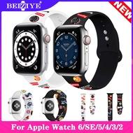 สายนาฬิกา For apple watch series 6 se band สายรัดซิลิโคนกีฬา For Apple Watch 6 SE ซีรีส์ 5 4 3 2 1 Strap 40mm 44mm 38mm 42mm Wrist Bracelet Band สายรัดซิลิโคนสำหรับกีฬา Replacement Strap