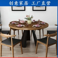 Northern Europe Solid Wood round Dining Table Casual Dining Tables and Chairs Set Industrial Wind Loft Dining Table in Dining Room Circular Conference Table