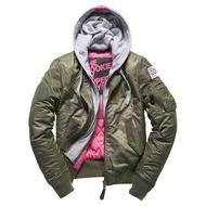 跩狗嚴選 極度乾燥 Superdry Rookie 女款 MA1 飛行夾克 外套 風衣 防風 連帽可拆 軍綠 短版
