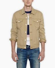 美國百分百【全新真品】Levis 外套 立領 夾克 牛仔 硬挺 修身 帥氣 經典 男衣 卡其色 M XL號 E172