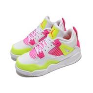 Nike 休閒鞋 Air Jordan 4 Retro 童鞋 經典款 喬丹四代 皮革 中童 穿搭 白 粉 CV7809100 CV7809-100
