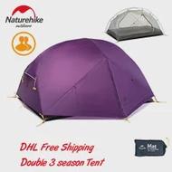 Naturehike Mongar 2 คน 3 ฤดูUltralight Campingเต็นท์ 20Dซิลิโคนผ้าDouble Layerกันน้ำกันฝนเต็นท์Mat